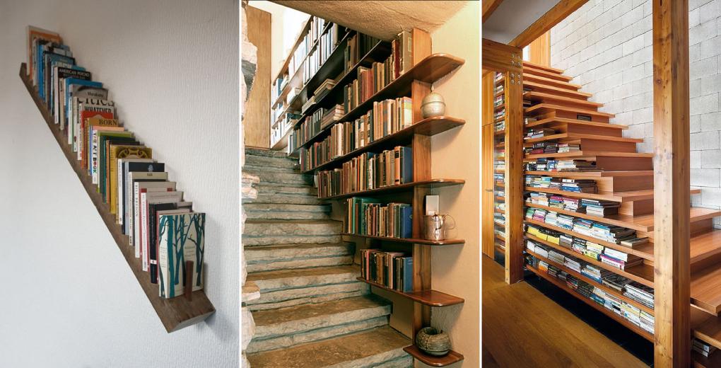 ห้องสมุดในบ้านที่มุมบันได