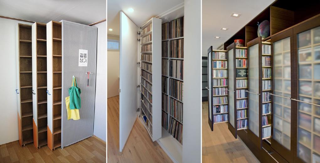 ห้องสมุดในบ้านแบบซ่อนแอบ
