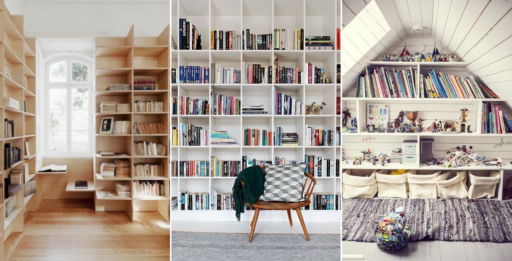 ห้องสมุดในบ้านแบบบิ้วต์อินที่พอดีกับผนัง