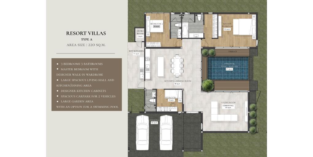 ผังแบบบ้าน Resort Villa type A
