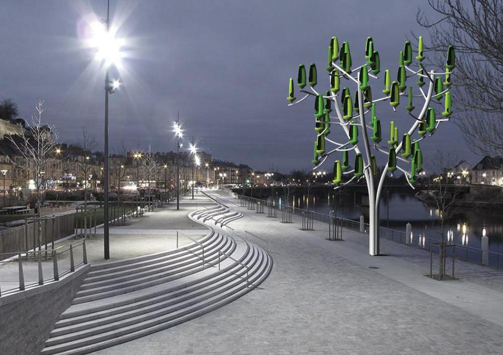 ภาพบรรยากาศ The Wind Tree ตอนกลางคืนในเมือง