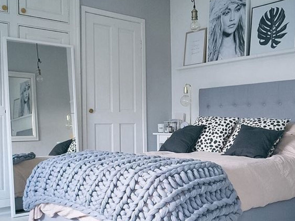 ห้องนอนสีฟ้าจับคู่สีเทา