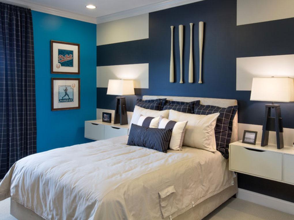 ห้องนอนสีฟ้าเข้มจับคู่สีโทนเข้ม