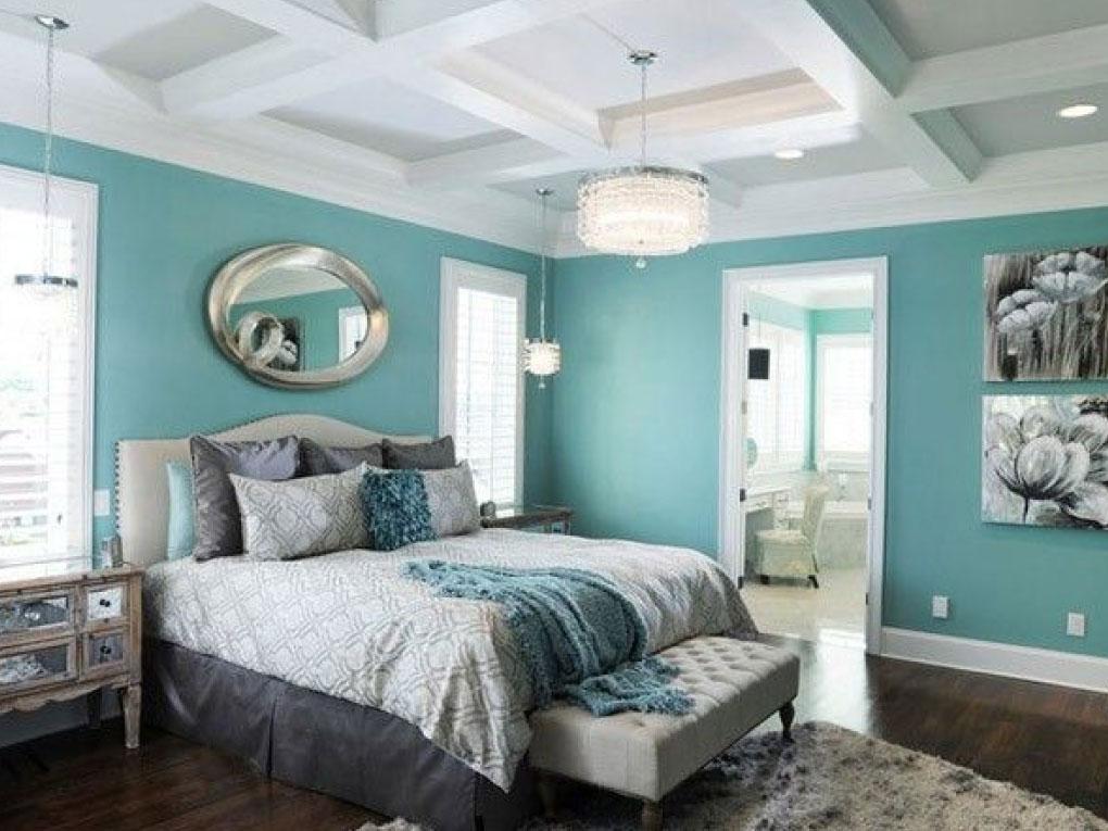ห้องนอนสีฟ้าอมเขียว