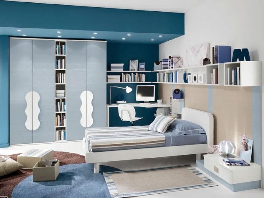 ห้องนอนสีฟ้าพาสเทล