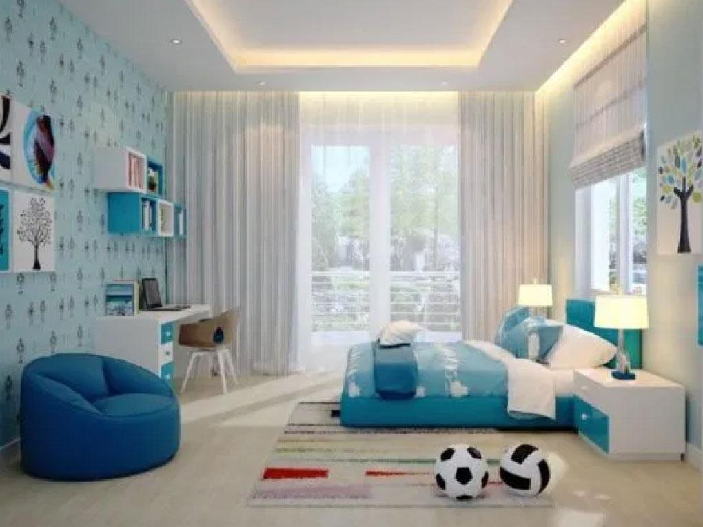 ห้องนอนสีฟ้า กับลวดลายน่ารัก