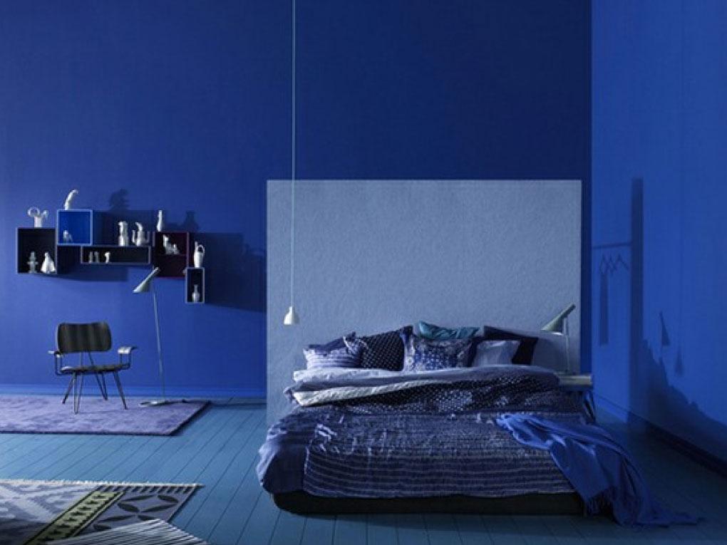 ห้องนอนสีฟ้าโทนน้ำเงินเข้ม
