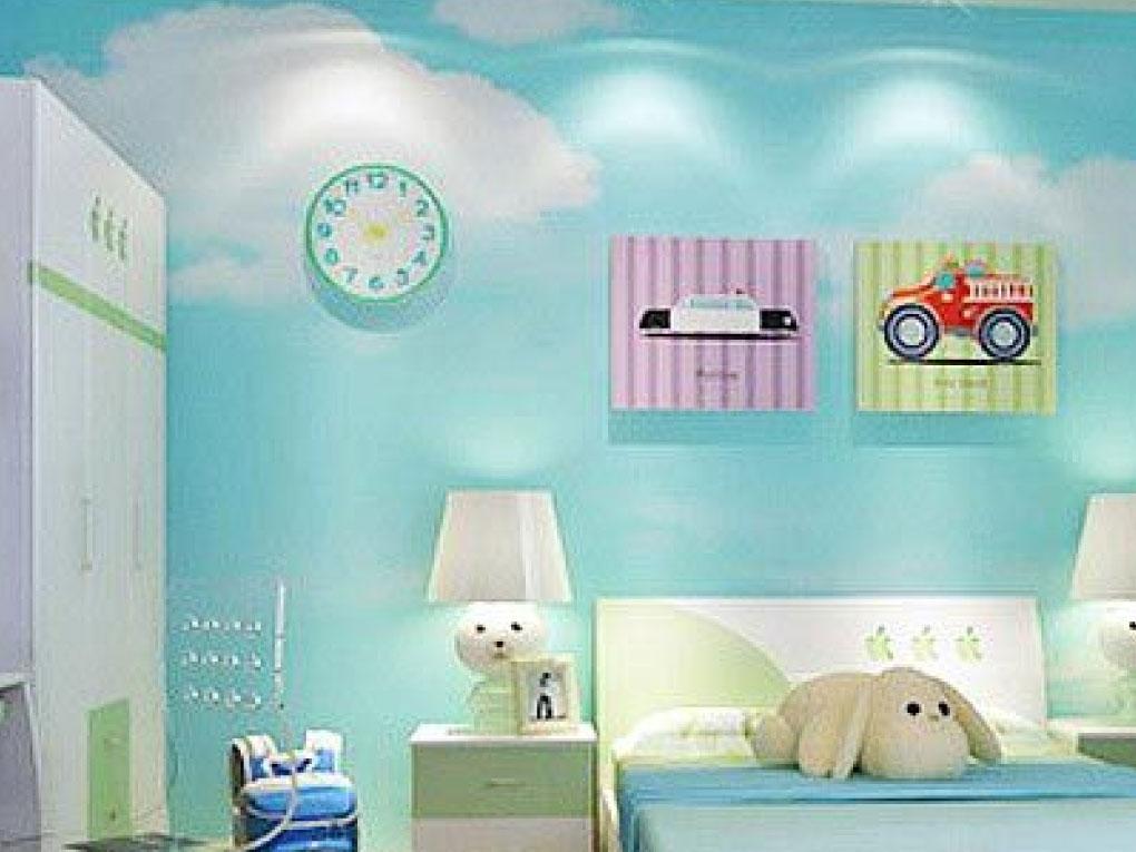 ห้องนอนสีฟ้ากับภาพวาด