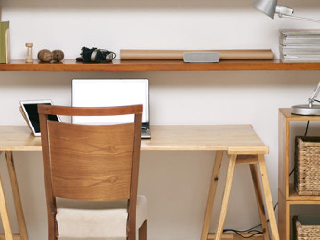 โต๊ะคอมไม้สองชั้น
