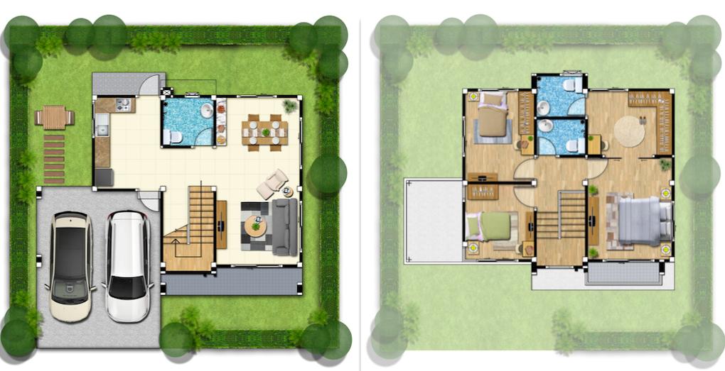 แบบบ้านสองชั้น เดอะ กรีนเนอร์รี่ ครีเอ ปิ่นเกล้า-สาย 4