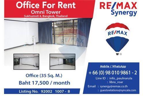Office Space for Rent เช่า ออฟฟิศ 35 ตรม ชั้น ลอบบี้ อาคารออมนิทาวเวอร์ สุขุมวิท ซอย 4 นานา กรุงเทพ